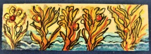 coral plants minature painting 51/2 inches by 1 3/4 inches $10