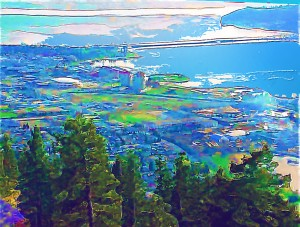 Kelowna from Knox Mountain, Bridge over troubled waters
