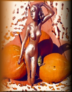 garden sculpture with pumpkins