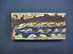 $10 hand painted fridge magnet, blue waves