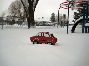Playground car stuck in snow