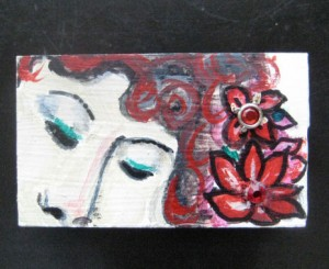 $5 mdf fridge magnet, tropical flowers