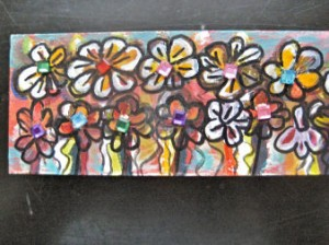Cheerful flowers with jewels, $10