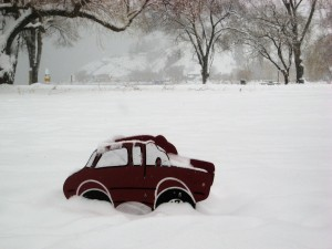 The kids play ground abandoned, the car stuck