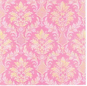 pink yellow damask design