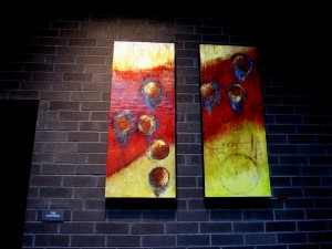 Public art in hall above Whole Foods parkade
