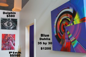 Dragon $580 , Dolphin 25 by 18 $580, Blue Dahlia 35 by 30 $1200