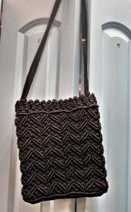 handmade black crochet and macrame purse