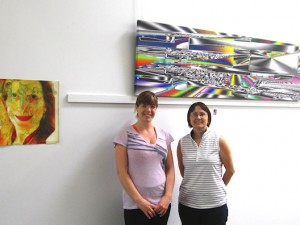 My friends Angie and Lil did most of the work for hanging the show
