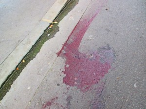 Blood on the Paris street of the murdered.
